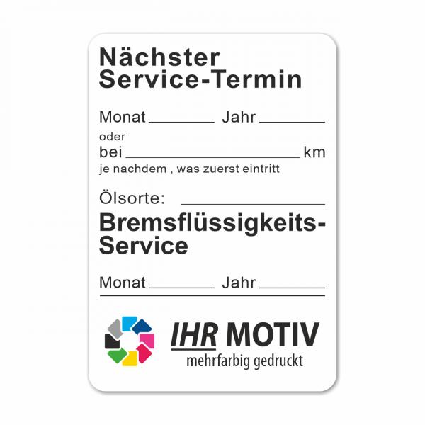 """Service-Aufkleber aus PVC-Folie, Größe: 45 x 65 mm, Motiv """"Service / Bremsflüssigkeit"""""""