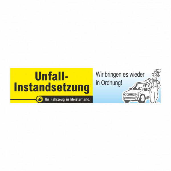 "Werbebanner ""Unfall-Instandsetzung"", 300 x 70 cm"