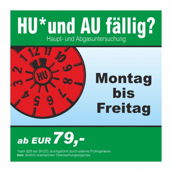 """Werbebanner """"HU und AU"""", 174 x 174 cm"""