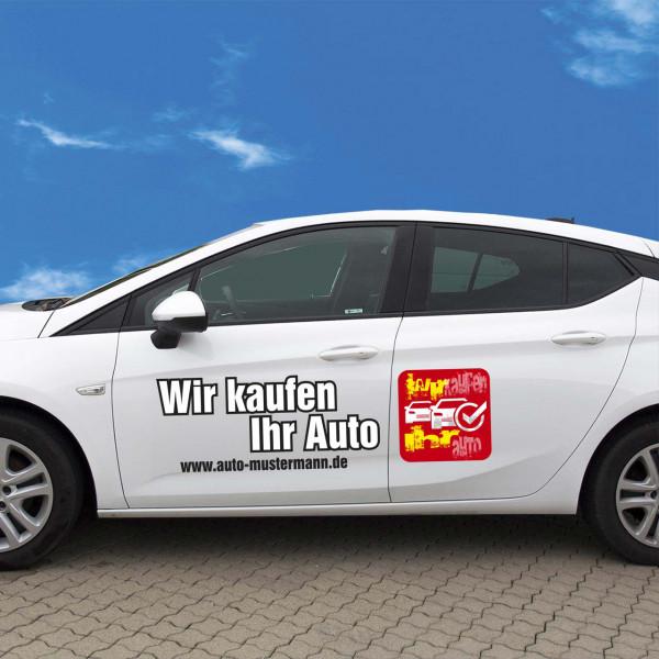 """Autobeschriftung """"Wir kaufen Ihr Auto"""" Autoaufkleber Druck Farbe rot"""