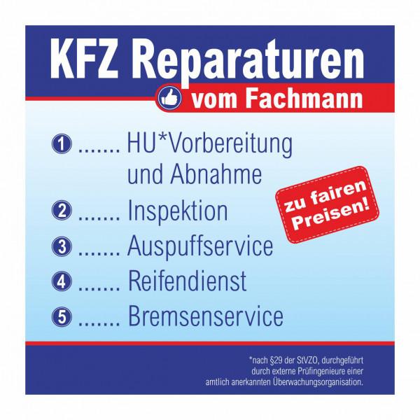 """Werbebanner """"KFZ Reparaturen vom Fachmann"""", 174 x 174 cm"""
