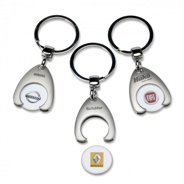 """Schlüsselanhänger """"Logo"""" aus Metall mit Einkaufswagenchip"""