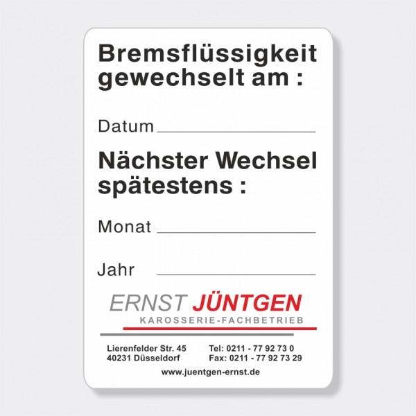 """Service-Aufkleber aus PVC-Folie, Größe: 45 x 65 mm, Motiv """"Bremsflüssigkeit / Nächster Wechsel)"""