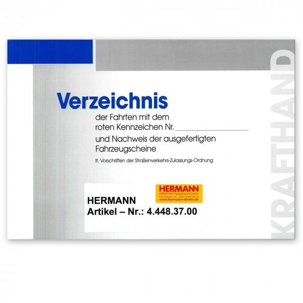 """Aufzeichnungsbuch für Fahrten mit """"roten Kennzeichen"""""""