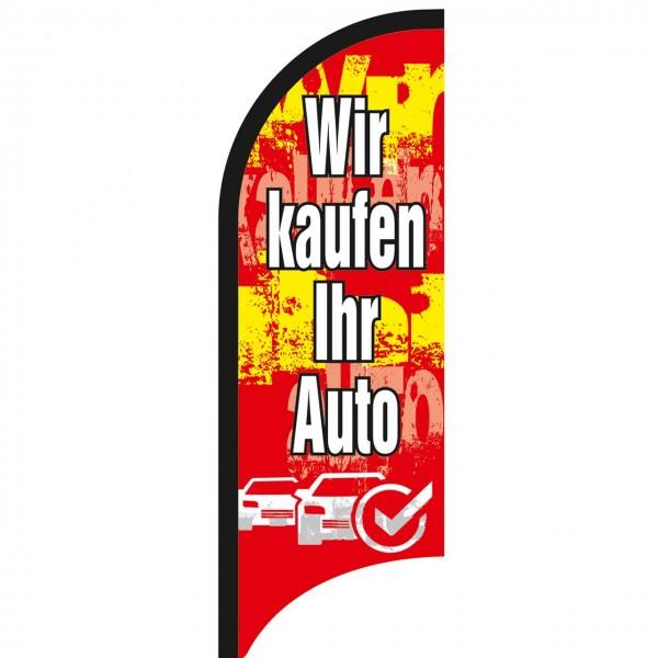 """Beachflagge """"Wir kaufen Ihr Auto"""", 70 x 205 cm, Design rot"""
