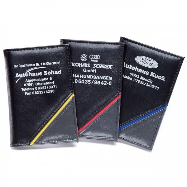 Ausweistasche aus Kunstleder mit grauer Ecke und farbigem Dekorstreifen, 2 Fächer