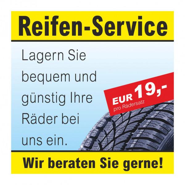 """Werbebanner """"Reifen-Service - Rädereinlagerung"""", 174 x 174 cm"""