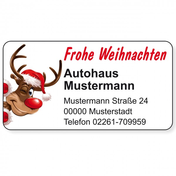 """Weihnachts-Aufkleber, Motiv """"Rudolph"""""""
