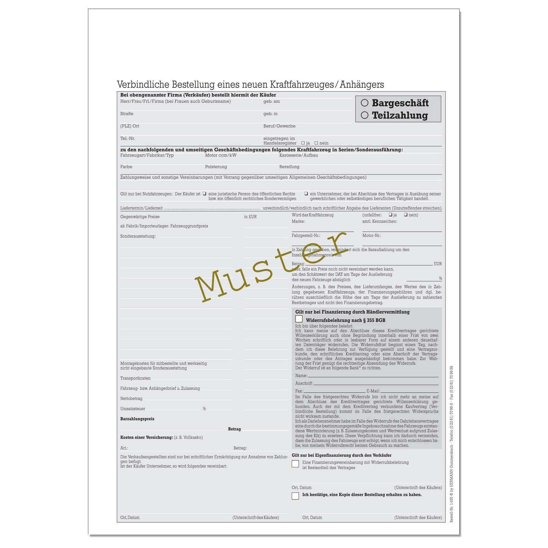 Verbindliche Bestellung eines neuen KFZ. DIN A4 | Kaufverträge Auto ...