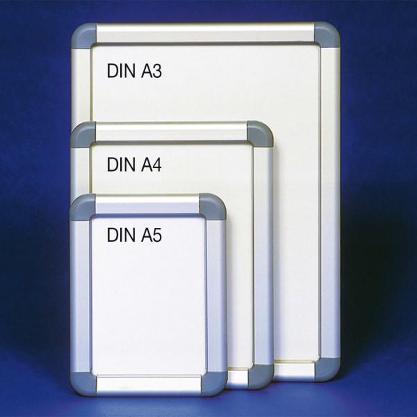Alu-Plakatrahmen mit grauen Kunststoffecken, DIN A5 bis DIN A3