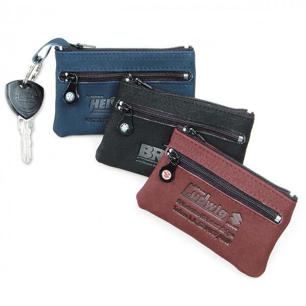 Schlüsseltasche aus Microfaser, mit zusätzlichem Kleingeldfach und Automarkenemblem auf dem Zipper