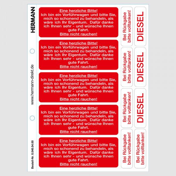 Hinweis-Etikett für Vorführwagen, »Bitte nicht rauchen«