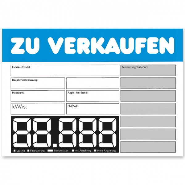"Verkaufsschild DIN A4 ""ZU VERKAUFEN"", mit LCD-Preisfeld"