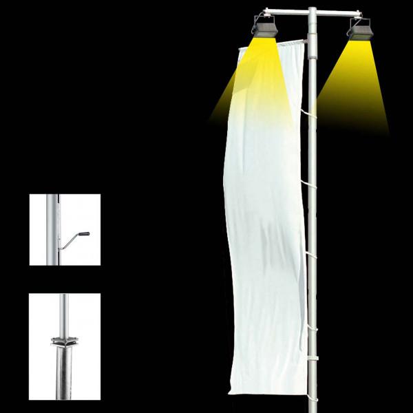 Fahnenmast mit innenliegender Kurbel-Hissvorrichtung, Ausleger und Beleuchtung