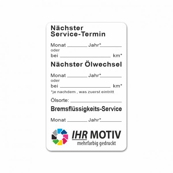 """Service-Aufkleber aus PVC-Folie, Größe: 50 x 80 mm, Motiv """"Service / Ölwechsel / Bremsflüssigkeit"""""""