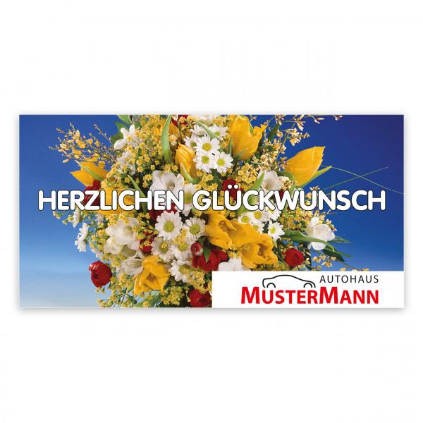 Geburtstags-Maxi-Postkarte, Motiv: bunter Strauß