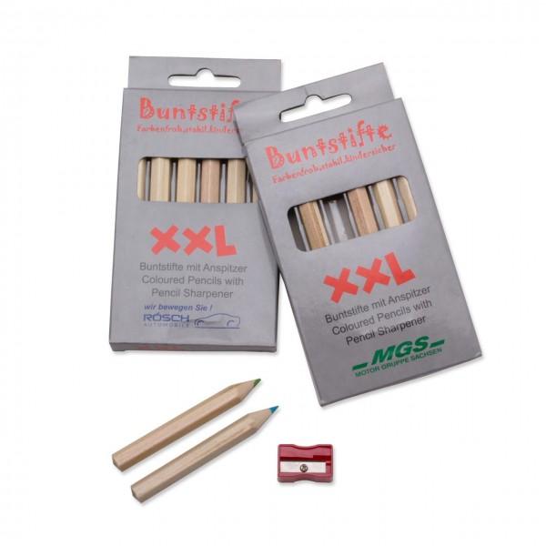"""Buntstifte Set """"XXL"""", Ø 1,0,cm, kurz, mit 6 Buntstiften und Spitzer"""