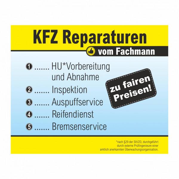 """Werbebanner """"KFZ Reparaturen vom Fachmann"""", 274 x 174 cm"""