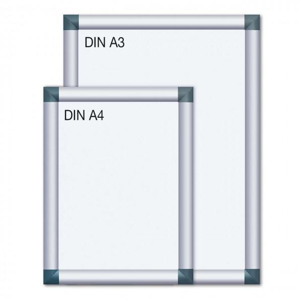 Alu-Plakatrahmen mit kantigen Ecken, DIN A4 und DIN A3