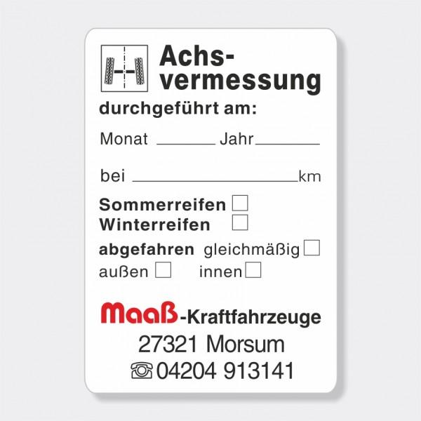 "Service-Aufkleber aus PVC-Folie, Größe: 45 x 65 mm, Motiv ""Achsvermessung"""