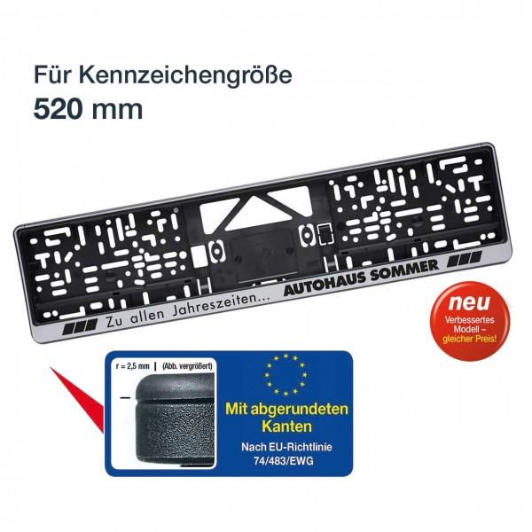 Kennzeichenhalter LOGOPLUS, silber, für Kennzeichengröße 520 mm