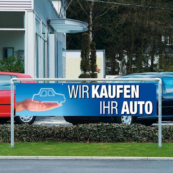 """Werbebanner """"Wir kaufen Ihr Auto"""", 300 x 70 cm, Design blau"""