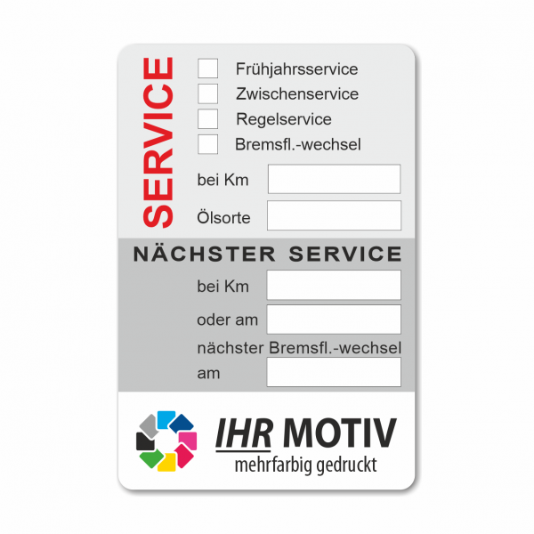 Service-Aufkleber aus PVC-Folie, Größe: 60 x 90 mm, Motiv 66
