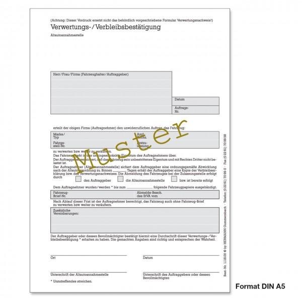 Verwertungs- und Verbleibsbestätigung, DIN A5