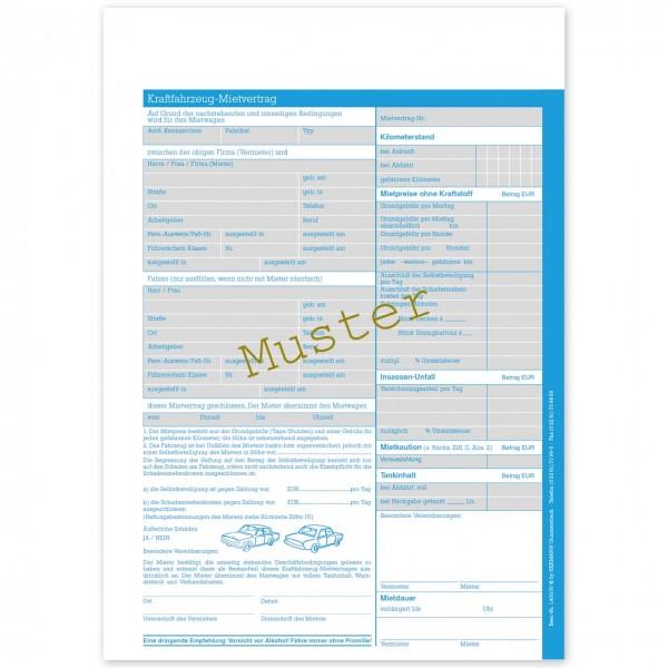 KFZ Automietvertrag. Formular im Format DIN A4
