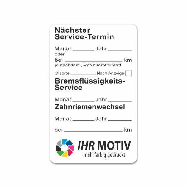 """Service-Aufkleber aus PVC-Folie, Größe: 50 x 80 mm, Motiv """"Service / Bremsflüssigkeit / Zahnriemen"""""""
