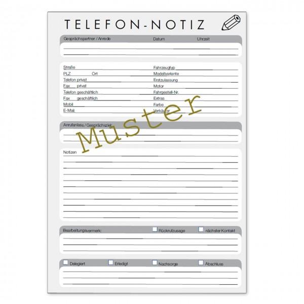 Telefon-Notiz für den KFZ-Handel