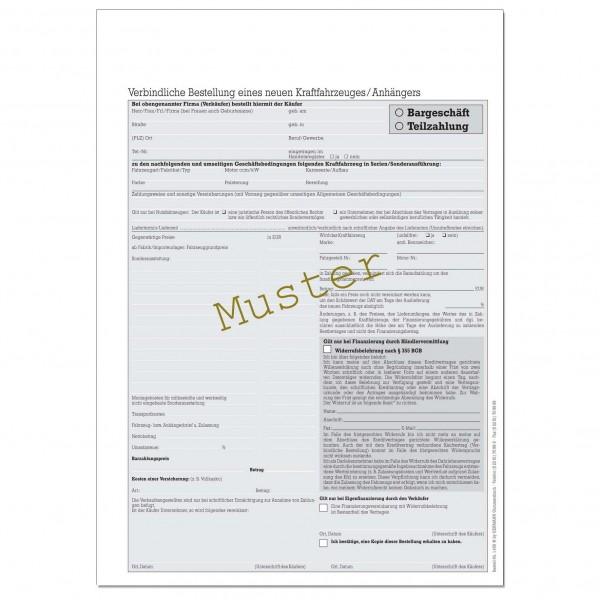 Verbindliche Bestellung Eines Neuen Kfz Din A4 Kaufverträge Auto