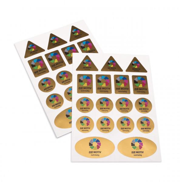 Stickerbogen Folie gold metallic