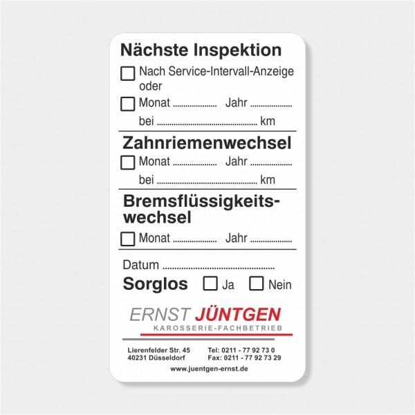 """Service-Aufkleber aus PVC-Folie, Größe: 45 x 80 mm, Motiv """"Inspektion/Zahnriemen/Bremsflüssigkeit"""""""
