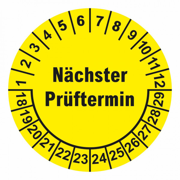 """Prüfplaketten """"Nächster Prüftermin"""" Ø 40 mm"""