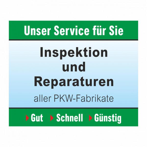 """Werbebanner """"Inspektion und Reparaturen"""", 274 x 174 cm"""