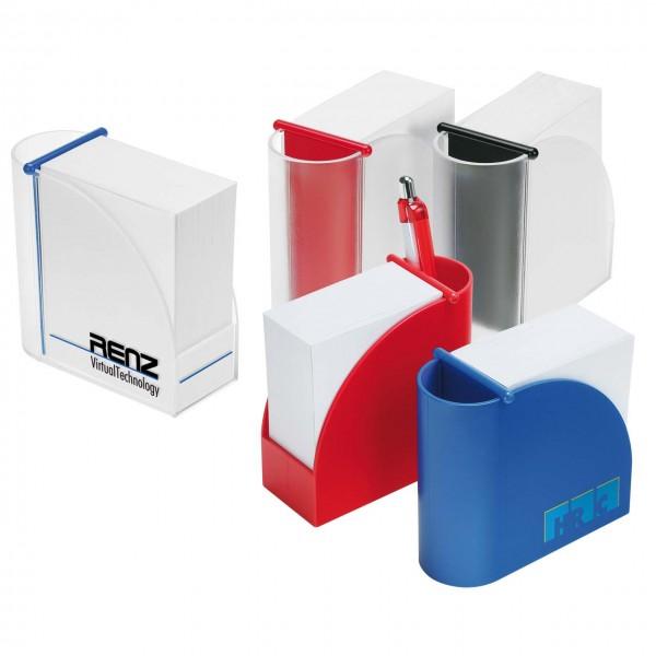 Designer-Zettelbox mit integriertem Stifteköcher