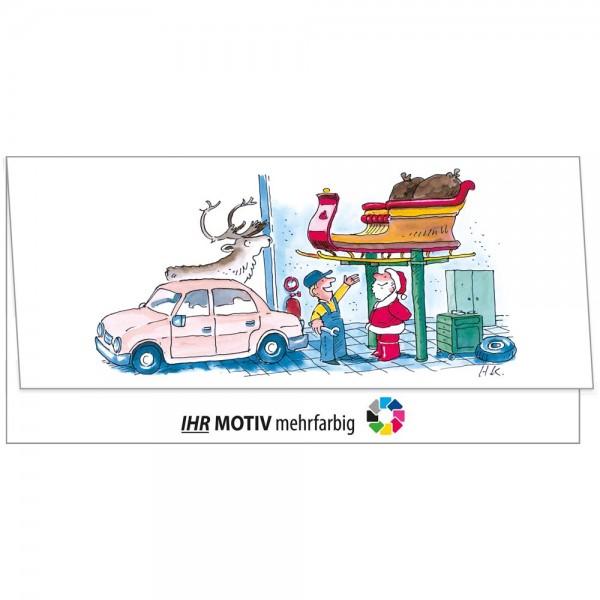 """Weihnachts-Klappkarte, Motiv """"Werkstatt"""""""