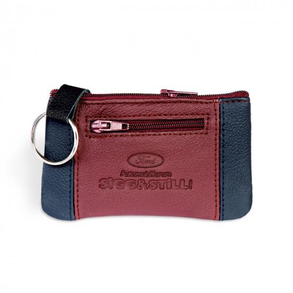 Schlüsseltasche aus Rindleder mit zusätzlichem Kleingeldfach