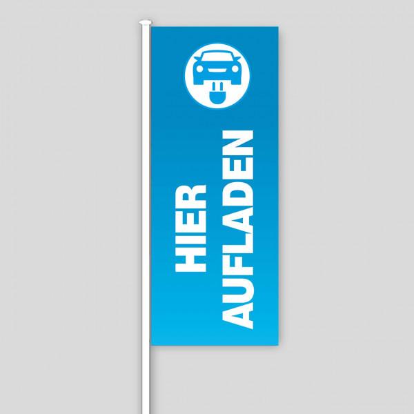 """Fahne """"E-Mobilität"""", Design blau"""