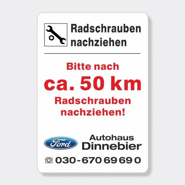 """Service-Aufkleber aus PVC-Folie, Größe: 45 x 65 mm, Motiv """"Radschrauben 50 km"""""""