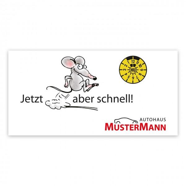 """Maxi-Postkarte """"HU/AU-Erinnerung"""", Motiv: springende Maus"""