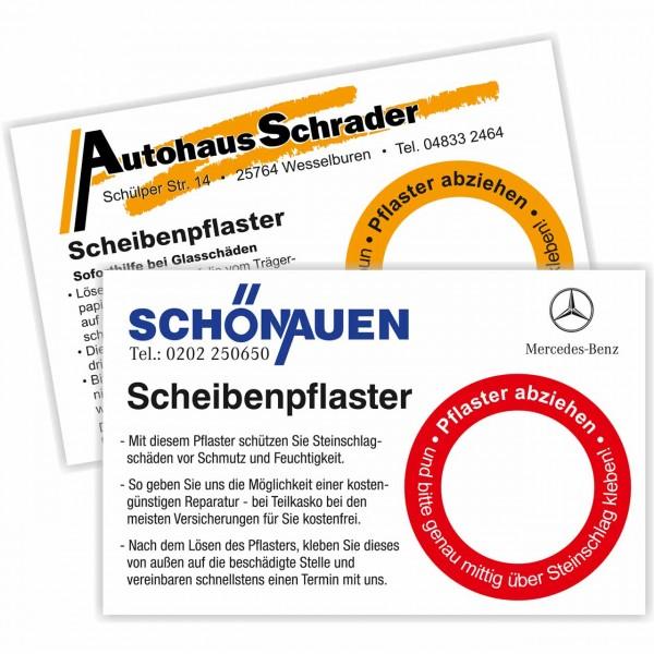 """PVC-Aufkleber """"Scheibenpflaster"""" in Visitenkartengröße 85 x 54 mm"""