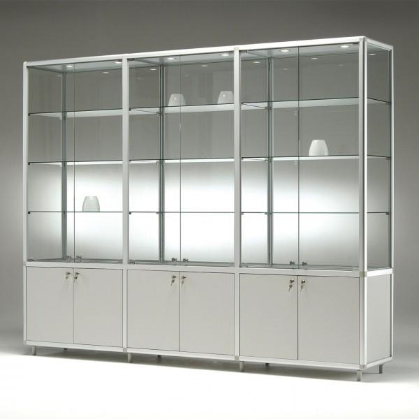 Glasvitrine mit Unterschrank, 3 x 2 Türen, 3 x 3 Fachböden