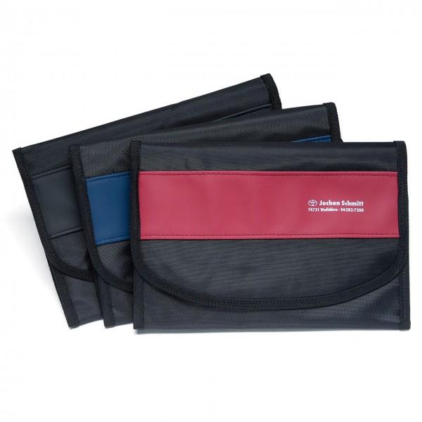 Wagenpapiertasche aus Nylon/Kunstleder mit farbigem Designstreifen