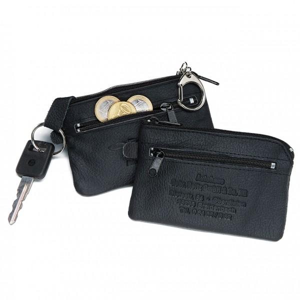 Schlüsseltasche aus Polsternappa-Leder, mit Kleingeldfach, 2 Schlüsselringe