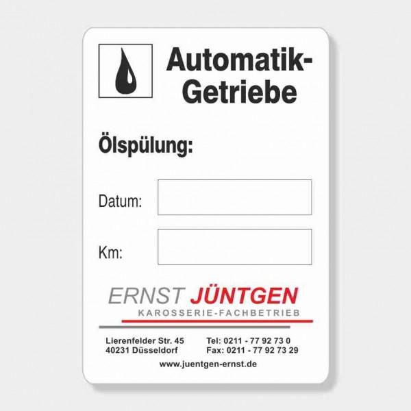 "Service-Aufkleber aus PVC-Folie, Größe: 45 x 65 mm, Motiv ""Automatik / Ölspülung"""