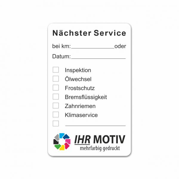 "Service-Aufkleber aus PVC-Folie, Größe: 50 x 80 mm, Motiv ""Servicetermine"""