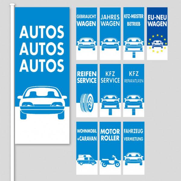 """Fahnen 120 x 300 cm. Design """"Top-Line"""", blau"""