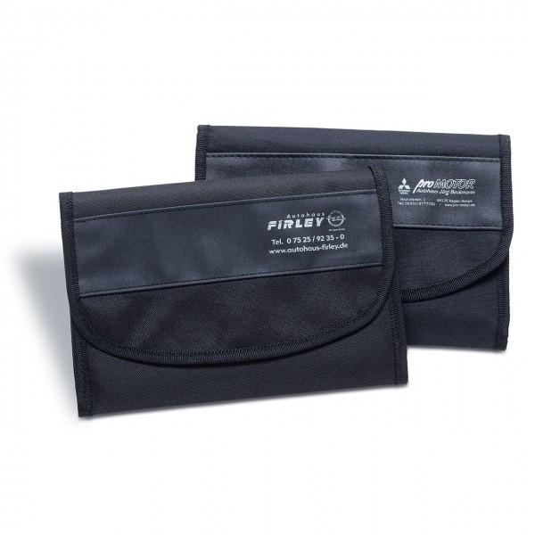 Wagenpapiertasche aus Nylon/Kunstleder, mit Dehnungsfalte